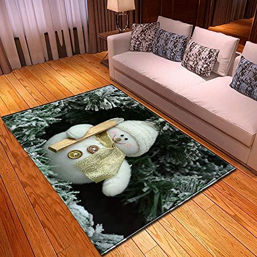 XuJinzisa Feliz Navidad Muñeco De Nieve Impresión 3D Alfombra Sala De Estar Dormitorio Hogar Antideslizante Decoración Suave Decoración del Hogar Alfombra 120X180Cm H17298