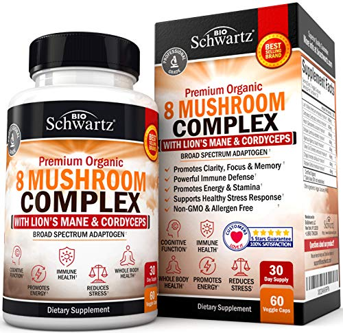 Premium Organic Mushroom Complex Supplement with Lions Mane & Cordyceps- Nootropic for Focus, Clarity, and Stress Relief - Promotes Energy and Stamina - Supports Immune Response & Memory - 60 capsules