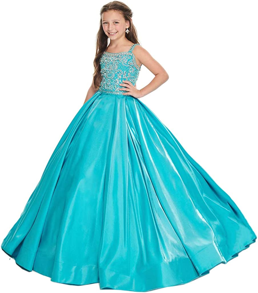 HuaMei Tulsa Mall Beaded Straps Satin Ball Girls Length Gowns Pageant 2021 Floor
