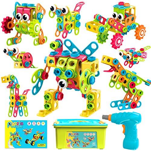 ATCRINICT Spielzeug Baue Bausteine Lernspielzeug Baukasten mit 191 Stück,STEM Educational Konstruktionsbaukasten Kreativ Spielzeug,Bauen Spielzeug Pädagogische 6 7 8 9 10+ Jahre Jungen und Mädchen