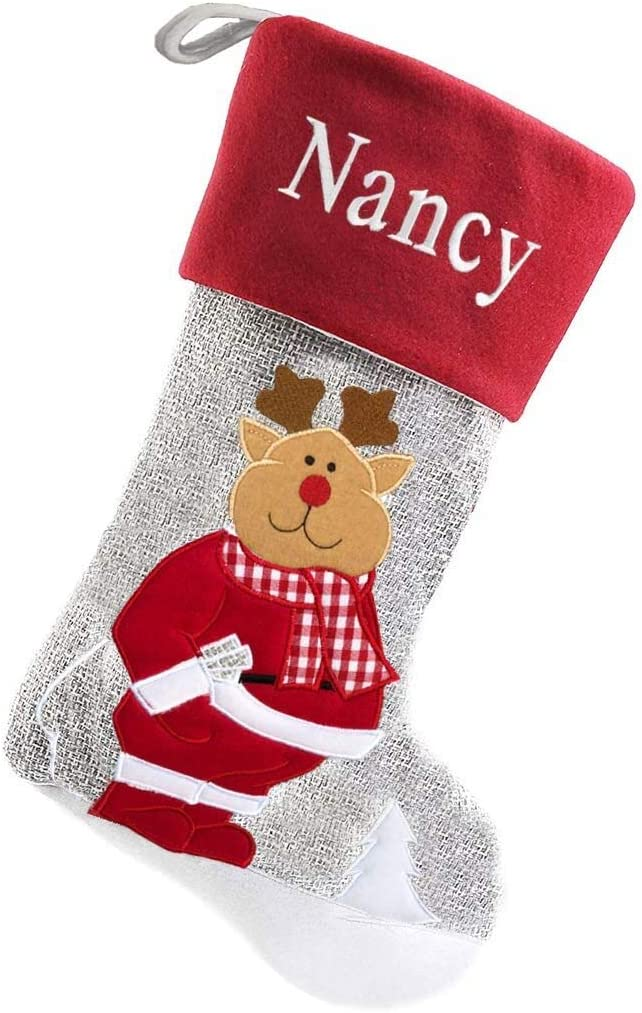 DIBSIES Raleigh Mall Portland Mall Personalized Modern Touch Grey Reind Stocking Christmas