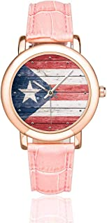 InterestPrint Cool National Flag Women's Rose Gold-plated Watch Pink Leather Strap Wrist Watches