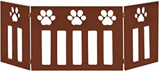 Etna 3-Panel Wood Pet Gate with Paw Print Cutout Design - Freestanding Tri Fold Dog Fence for Doorways, Stairs - Indoor/Outdoor Pet Barrier - 45