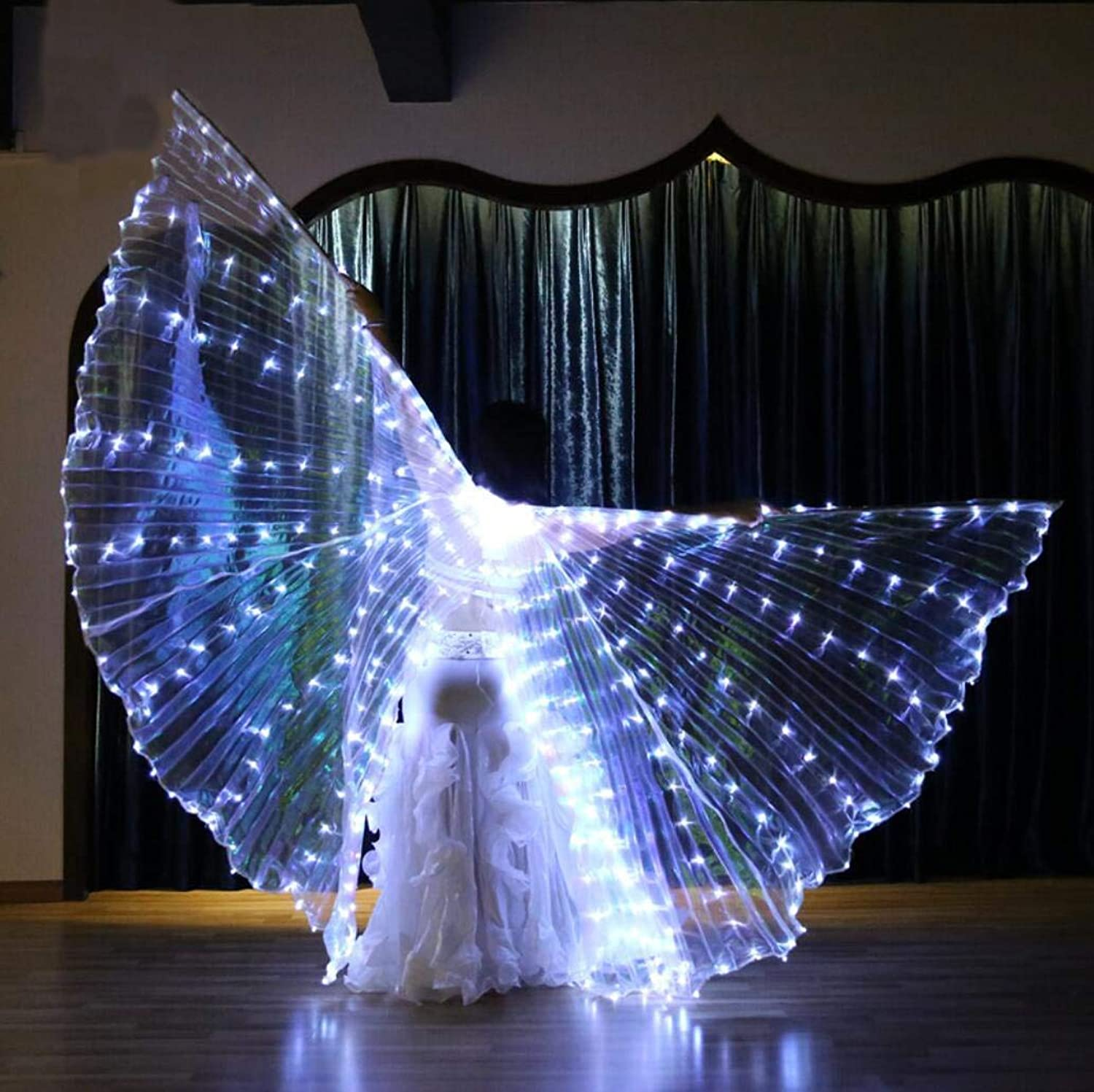 Dance Fairy Opening Belly Dance LED Isis Wings with Sticks RodsWings LED Luminous Light Up Stage Performance Props Suitable for Belly Dancing, Performance, Photography