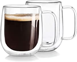 Double Wall Glass Coffee Mugs Tea Cups Set of 2, Thermal Insulated and No Condensation with Wide Handle, 12OZ (360ML)