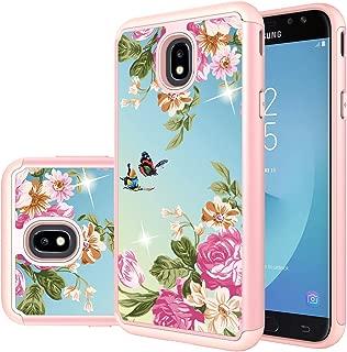 Galaxy J7 Refine Case,J7 V 2018,J7 Star,Galaxy J7 Top,J7 Crown,J7 Aero,J7 Aura,J7 Eon Case,Yiakeng Shockproof Drop Protection Lovely Decal Phone Cases Cover for Samsung J737V,J737T (Gold Flower)