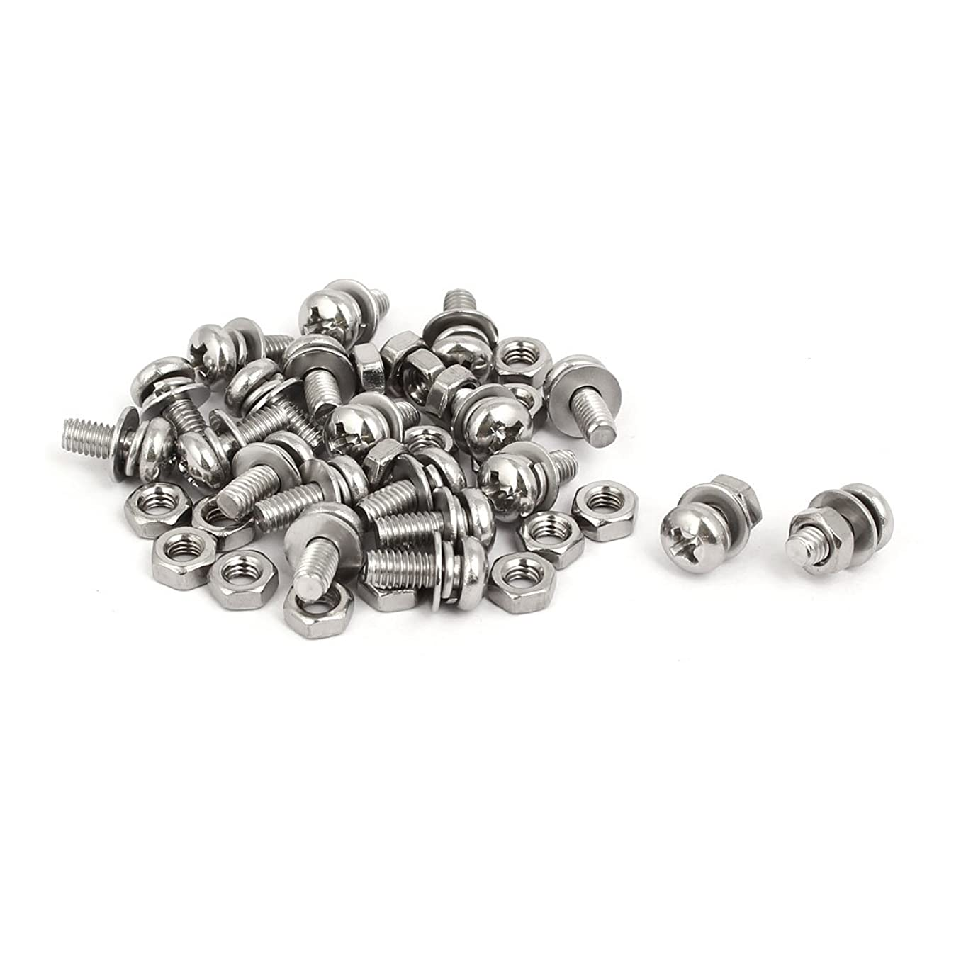 uxcell M4x10mm 304 Stainless Steel Phillips Pan Head Bolt Screw Nut w Washer 20 Sets yz16879258281360