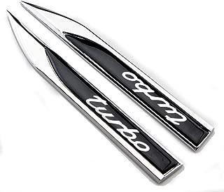 2pcs Metal TURBO Premium Car Side Fender Rear Trunk Emblem Badge Decals Universal (Knife type Turbo)