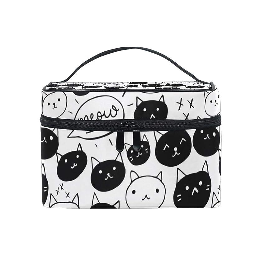 バララ (La Rose) 化粧箱 コスメポーチ 大容量 化粧ポーチ おしゃれ 機能的 かわいい 黒白 ネコ 猫柄 メイクポーチ 軽量 小物入れ 収納バッグ 女性 雑貨 プレゼント