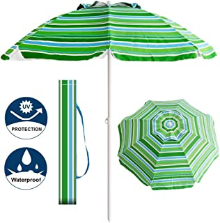 Aclumsy 7' Portable Beach Umbrella with Tilt and Silver Coating Inside, Integrated Sand Anchor and Air Vent Parasol Sun Shelter, Carry Bag Included (Blue/Green Stripe)