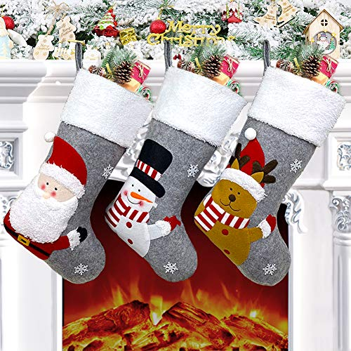 Christmas Stocking Set of 3, 18' Large Xmas Stockings Decorations, Santa Snowman Reindeer Xmas Character for Family Holiday Decorations, Christmas Hanging Stockings Socks for Christmas Tree Fireplace