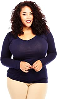 Bozzolo Womens Ladies Plus Size Curvy Cotton Basic V-Neck Long Sleeves Tops (XL, Navy)