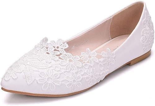 Qiusa Les Les Les dames Dentelle Fleurs Satin Bout Pointu Mariage Formelle soirée Flats (Couleuré   blanc-Flat, Taille   2.5 UK)