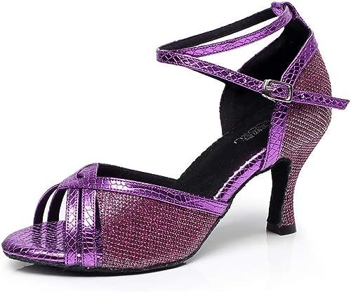XIAOY Interior zapatos de Baile Latino mujer Tacon Alto Cuero PU Cross Correa Tobillo Hebilla Suave Inferior