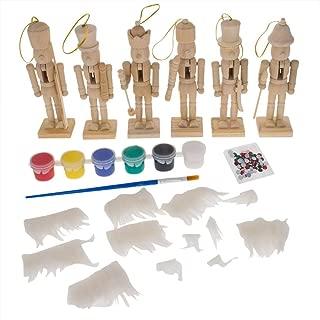 BestPysanky 6 Unfinished Wooden Nutcracker Figurines DIY Craft Kit 5 Inches