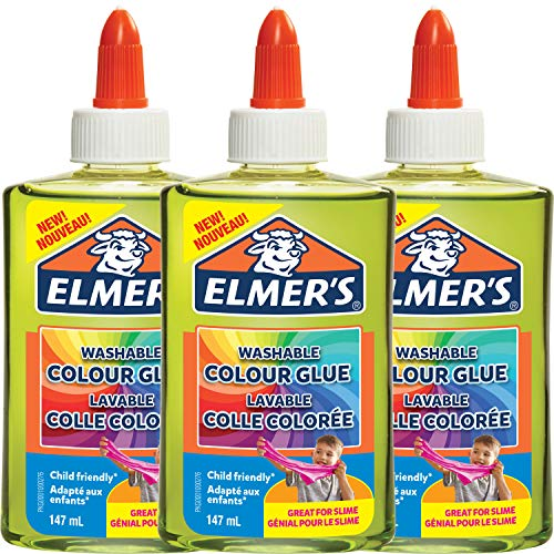 Elmer's doorschijnende kleur PVA lijm | Groen | 147 ml | Wasbaar | Geweldig voor het maken van slijm | 3 Count