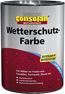 Consolan Profi Wetterschutzfarbe Holzschutz außen 0,75 Liter, Grau