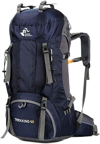 JIAN Sac à Dos De Randonnée,Sac à Dos De Trekking De Camping Multi-Fonctionnel Résistant à l'eau pour L'alpiniste 36-55L,bleu-OneTaille