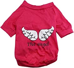 Cute Pet Costume Pet Clothes Cotton Print The Angle Wings Cat Dog T-Shirt Red L