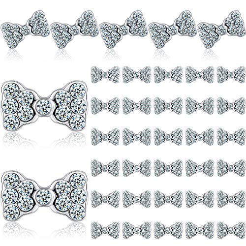 40 Pieces 3D Bow Nail Charms Bow Tie Design Nail Art Slices Rhinestone Alloy Bow Nail Art Decals Bow Nail Art Decoration for Women Girls DIY Nail Art