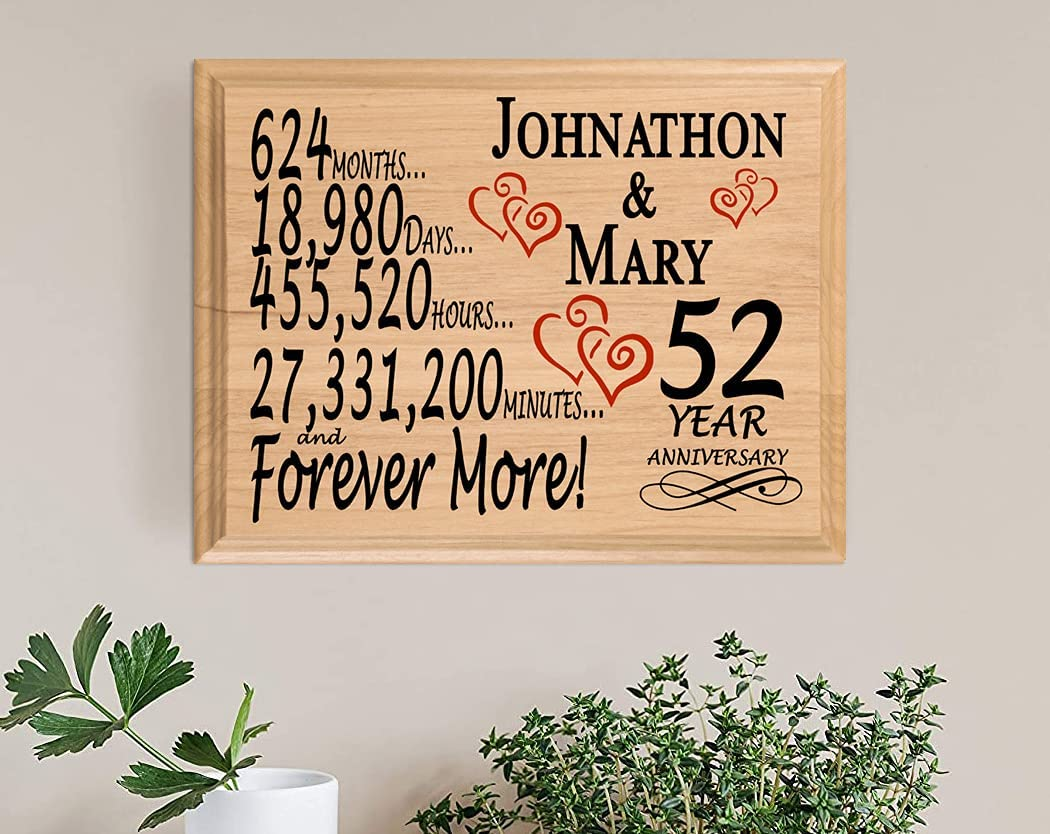 Broad Bay 52 Year Anniversary Wedding Personalized Sale item 52nd Sign for 1 year warranty