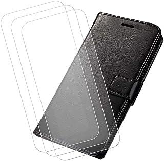 YZKJ Cover för AGM X2 (5,5 tum) fodral [3 styck] pansarglas skyddsfolie flip PU läderfodral mobiltelefonfodral plånbok fod...