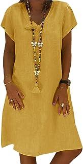 Yidarton Sommerkleid Leinen Kleider Damen V-Ausschnitt Strandkleider Einfarbig A-Linie Kleid Boho Knielang Kleid Ohne Zubehör