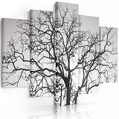 Feeby Frames, Quadro multipannello di 5 Pannelli, Quadro su Tela, Stampa Artistica, Canvas Tipo A, 70x100 cm, Albero, Nero E Bianco