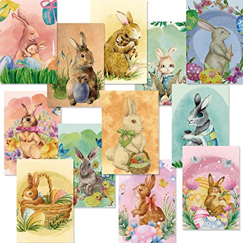 24 Pieces Easter Greeting Cards with Envelopes Happy Easter Note Cards Vintage Easter Cards Bunny Cute Note Cards for Easter Birthday Anniversary, Assorted Bunnies Designs, 4 x 6 Inches