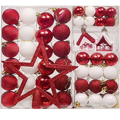 Valery Madelyn Palline di Natale 60 Pezzi 3-20cm Plastic Christmas Tree Baubles Decorazioni per L'Albero di Natale Set con Albero di Natale Lace e Hanger Decoration Tema Tradizionale Rosso Bianco