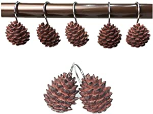 Leoyoubei Pinecone Shower Curtain Hooks,Waterproof and Durable Stainless Steel Bathroom Accessories Curtain Hook/Dressing Room Hook/Shower hooks12 Pack (Pine Cone)