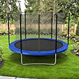 Trampoline for Kids 10 FT Recreational Trampoline with Safety Enclosure Net, Waterproof Jump Mat, PVC Spring Cover Padding, Outdoor Combo Bounce Trampoline for Backyard Jump Have Fun, Without Ladder