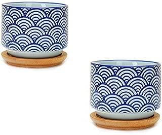 Flowerpot+Wooden Pot Tray Japanese Style Wave Pattern Ceramic Garden Pots Succulent Planter Blue White Flower Po -2pcs