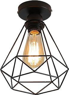 Plafonnier Industrielle Retro en Métal Cage Fer Noir, Plafonnier Industriel Vintage, E27 Suspension Luminaire pour Entrée,...