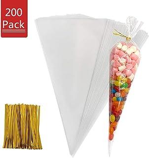 200 pcs Bolsas de Cono OPP Transparente Celofán para Chuches Chocolate Caramelos Cookies Galletas Palomitas Maíz Nueces Bombones Boda Fiesta Navidad (16 x 30cm)