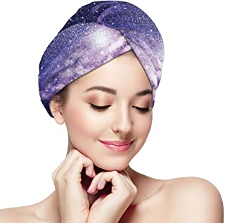 Quick Dry Hair Wrap Towels Turban,Nebula Cloud In Milky Way Infinity In Interstellar Solar System Design Print,Absorbent Shower Cap