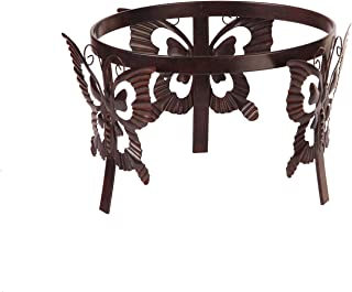 Topadorn Gazing Ball Stand Garden Hardware Metal Stand with Butterfly Adorned for 10-Inch or 12-Inch Gazing Globes