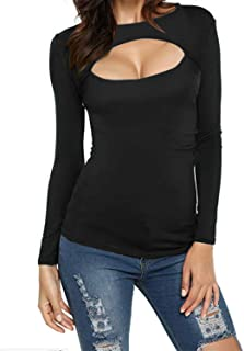 Style Dome - Camiseta de Manga Larga - Manga Larga - para Mujer Negro-c01. L