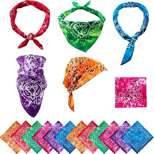 Boao 12 Pieces Novelty Gradient Bandana Classic Paisley Cotton Handkerchief (Assorted Colors)