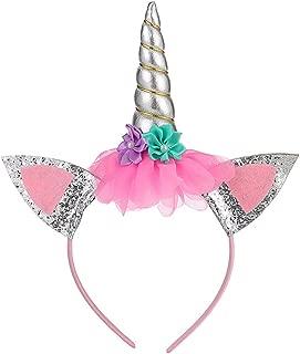 Bandeau Cheveux Coiffure Licorne Serre Tete Feutre Unicorne Soire Cosplay Déguisement Noel Halloween Carnaval pour Enfant Fille Garcon