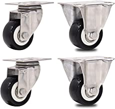 4 kleine rubberen zwenkwielen met rem - roestvrijstalen beugel Meubelwielen 38/50 mm (1,5/2 inch) zwart/slijtvaste/gedempt...