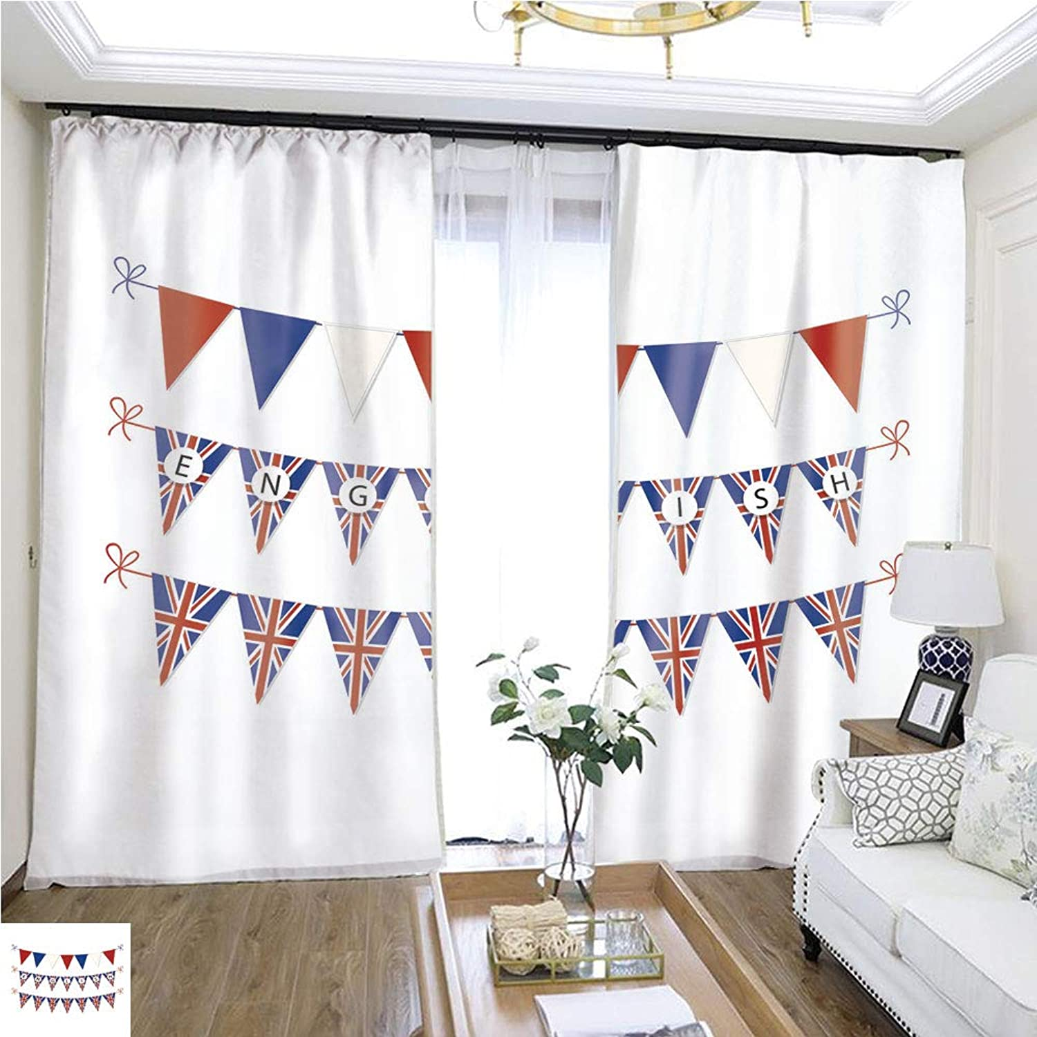 Air Port Screen Cute Bunting Flags for English Language Day4 W96 x L72 Eliminate The Turf Highprecision Curtains for bedrooms Living Rooms Kitchens etc.