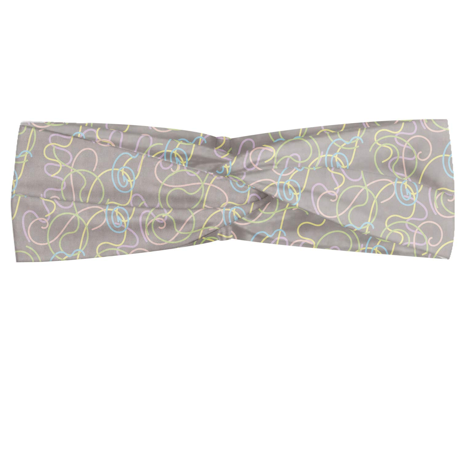 Ambesonne Abstract Geometry Headband, Pastel Colored Strings Motifs Randomly Spread Illustration, Elastic and Soft Women's Bandana for Sports and Everyday Use, Pale Taupe Multicolor