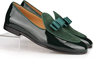 2e420dcd969 COOL TIRO Patent Leather Loafers Bow Tie Flats Wedding Mens Dress Shoes  Casual Slip on