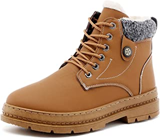 JIANFEI LIANG Men's Ankle Work Boot Casual Windproof and Waterproof Winter Faux Fleece Inside High Top Boot High Quality (Color : Brown, Size : 42 EU)
