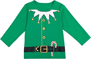 Yruiz Christmas Santa Claus Little Boys' Cute Elf Costume Long Sleeve T-Shirt