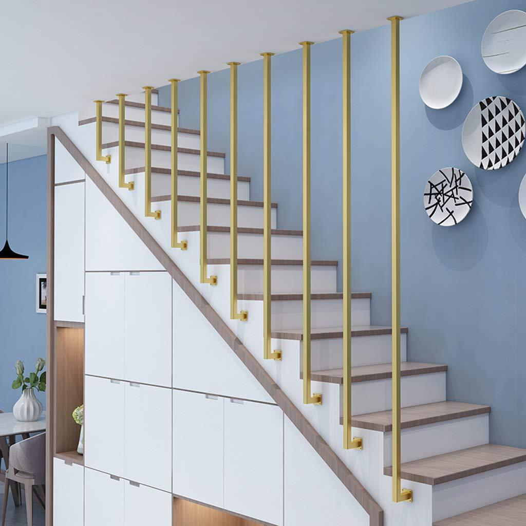 YUDE-2ft Barandilla LStair, tubería galvanizada de Oro, barandilla Antideslizante de Seguridad Interior y Exterior, Adecuada para escaleras, Barras, lofts: Amazon.es: Hogar