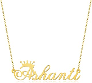 Custom Crown Cursive Name Necklace Stainless Steel Pendant Personalized Jewelry Gift for Women