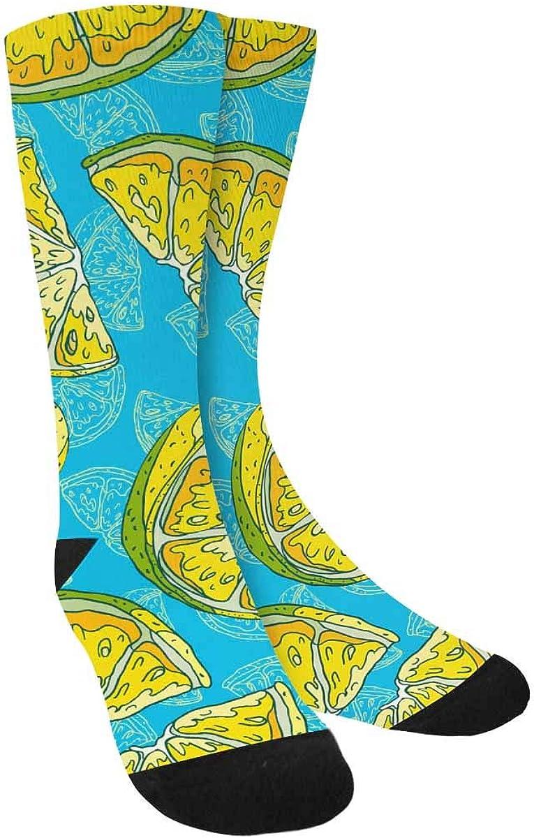 INTERESTPRINT Yellow Juicy Lemon for Fresh Lemonade Outdoor Casual Novelty Custom Socks