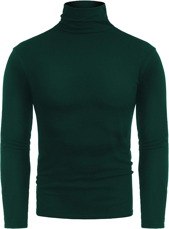 RAGEMALL Mens Basic Turtleneck Thermal Long Sleeve T-Shirt Sweatshirt Cozy Pullover Tops